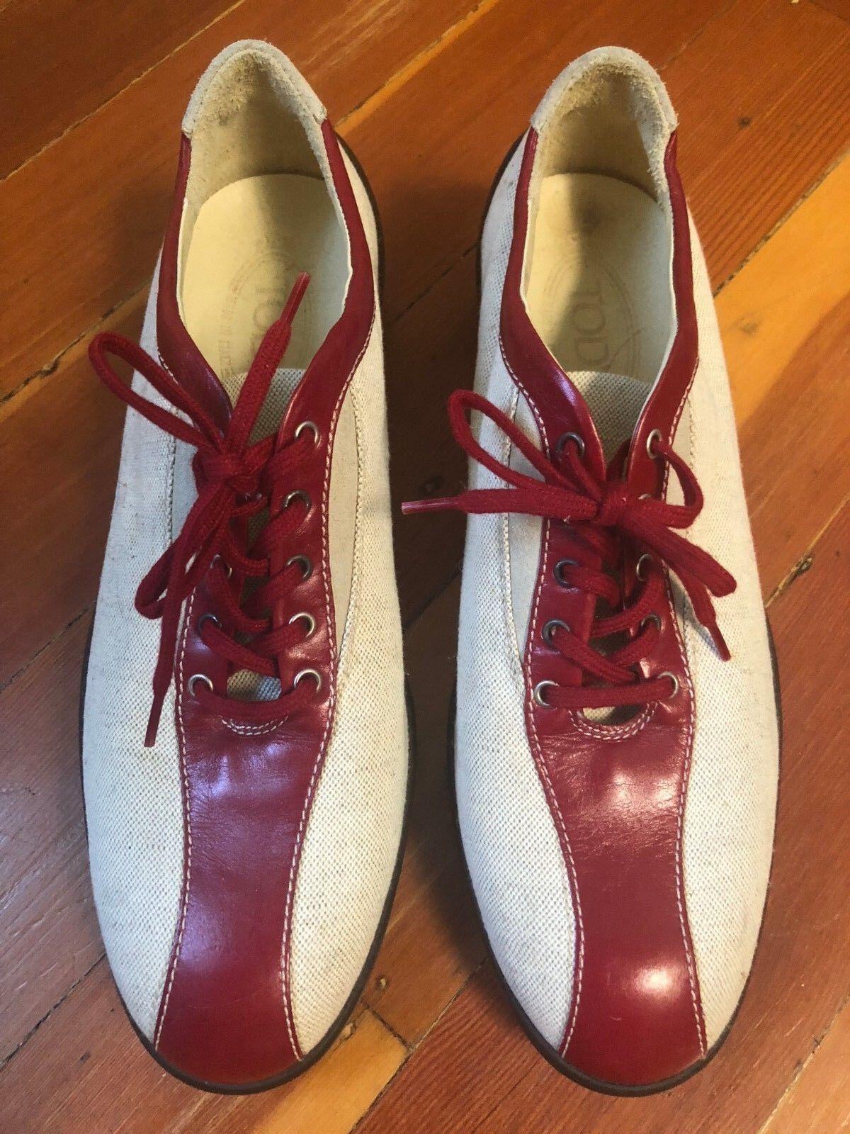 Tod's Leather Linen Designer Driving Turnschuhe schuhe Weiß rot Stripe Stripe Stripe Sz 9.5 39.5 1b9451