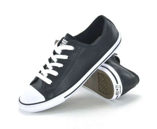6ae41c6d1efcfd CONVERSE CT DAINTY LEATHER OX - 537107C -WOMENS SNEAKERS -BLACK WHITE -BRAND