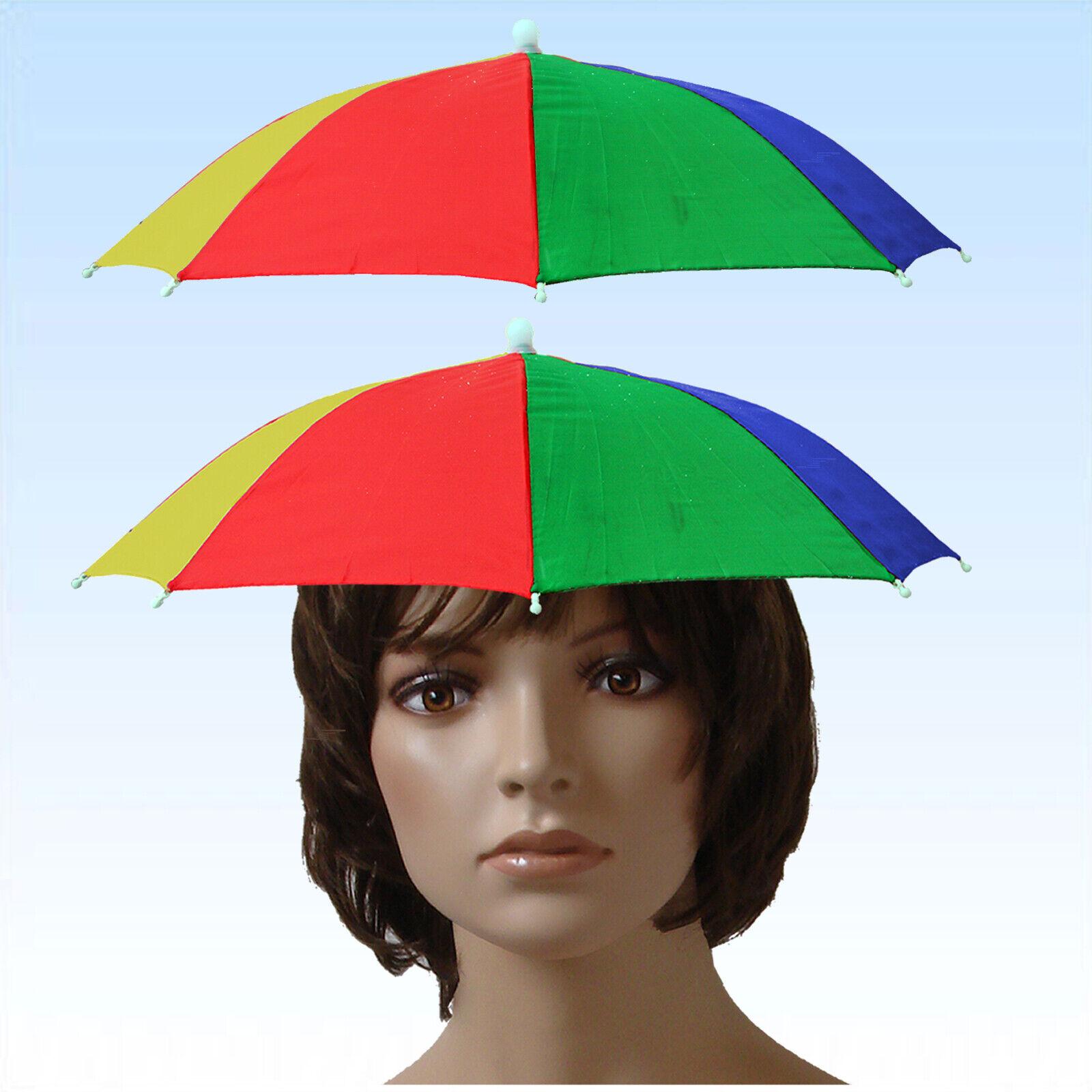 2 x Kopf Regen Sonnenschirm Regenschirm Scherzartikel Kopfschirm Kopfregenschirm