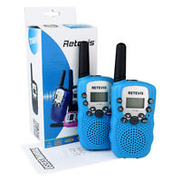2x Retevis Rt388 Sky Blue Kids Walkie Talkie Uhf Lcd+flashlight 2-way Radio Us