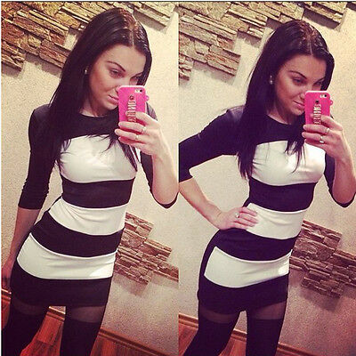 Fashion Women Bodycon Half Sleeve Stripe Party Cocktail Mini Dress Elegant