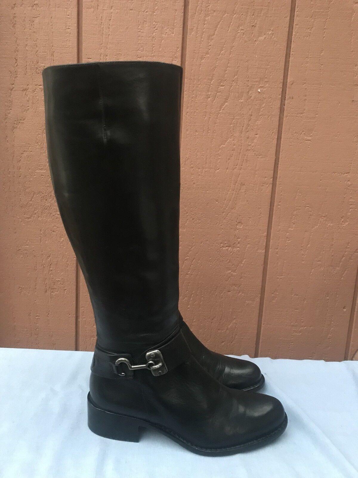 EUC Via Spiga Kali Tall nero Leather Knee High Riding stivali Sz US 5M  398