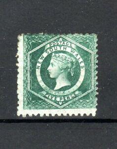 Australia-Nueva-Gales-del-Sur-1885-5d-Azul-Verde-Perf-10-X-11-MH