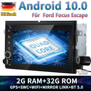 2DIN Autoradio Android 10.0 GPS Navi 32GB für Ford Focus Escape Mustang Mercury