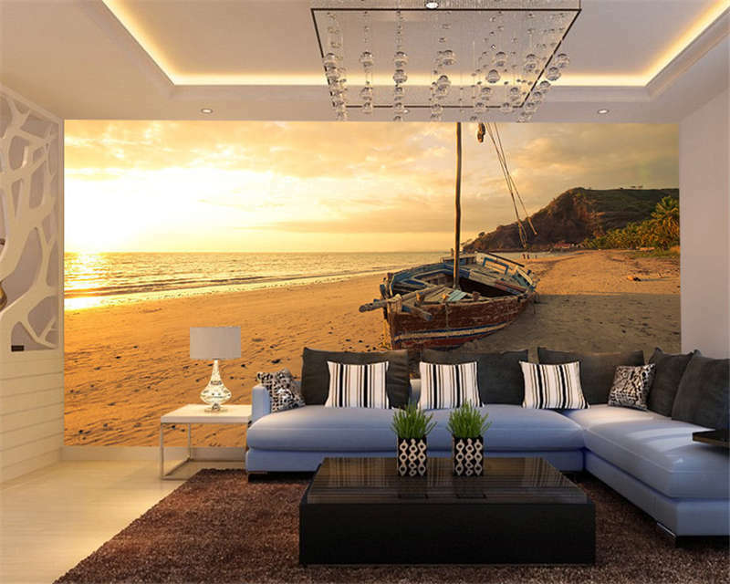 Old Sailboat Sunset Phograph Full Wall Mural Photo Wallpaper Print Home 3D Decal