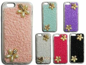 Big-Pearl-Jewelled-Flower-Diamond-Case-w-Rhinestones-Soft-TPU-Case-For-iPhone-6