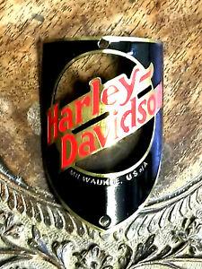 Harley Davidson Bike Badge Headtube Emblem Name Plate acid etched brass open ctr