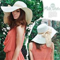 Fashion Women Summer Beach Straw Wide Large Brim Ribbon Bow Sun Hat Cap P0092