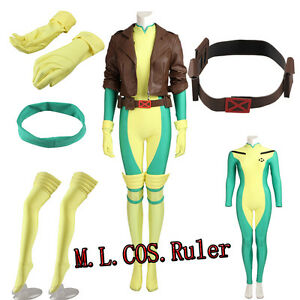 Hot Cakes Original X-men Rogue Cosplay Costume Jumpsuit Full Set