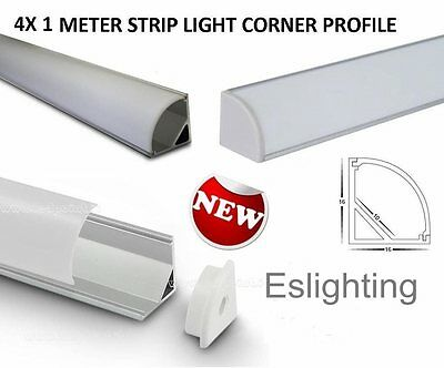 4X 1M LED STRIP LIGHT CORNER PROFILE DISPLAY CABINET STRIP LIGHT KITCHEN BENCH