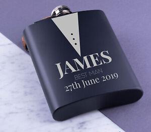 Personalised-Hip-Flask-Engraved-Steel-8oz-Wedding-Groom-Best-Man-Usher-Gift