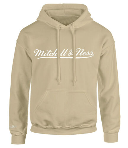 Mitchell /& Ness Script Logo Tan Hoodie Mens Hooded Pullover Jumper A40AB