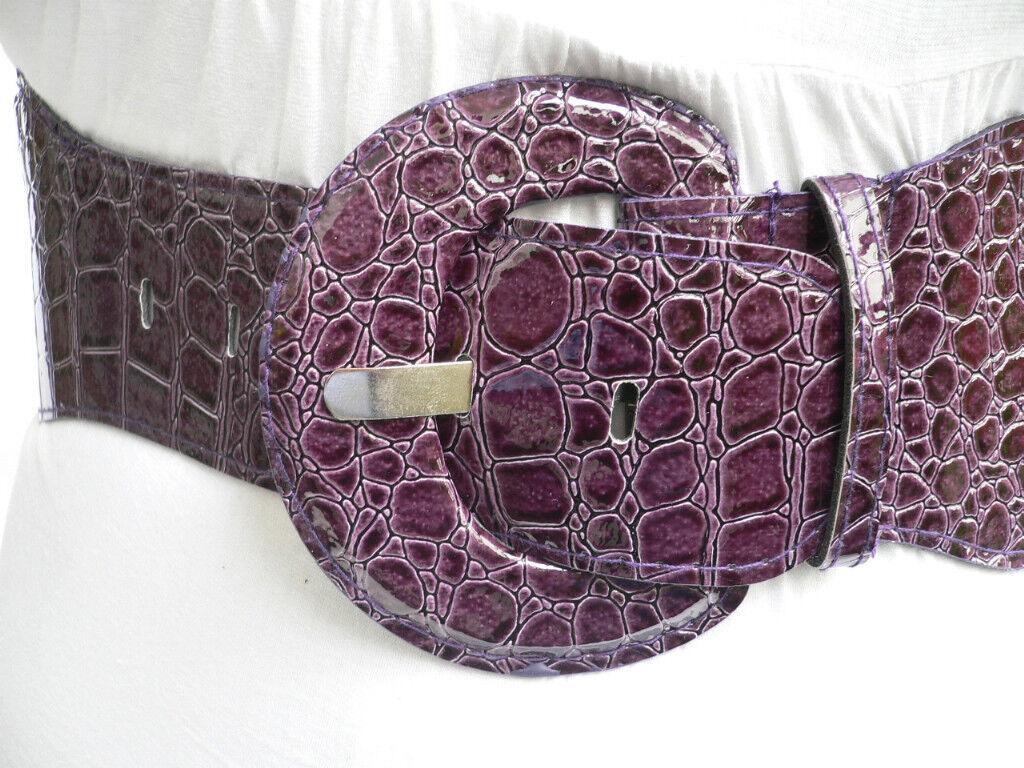 Women Attractive Bold Belt Hip Elastic Waistband Waist Hip Purple Playful XS S M