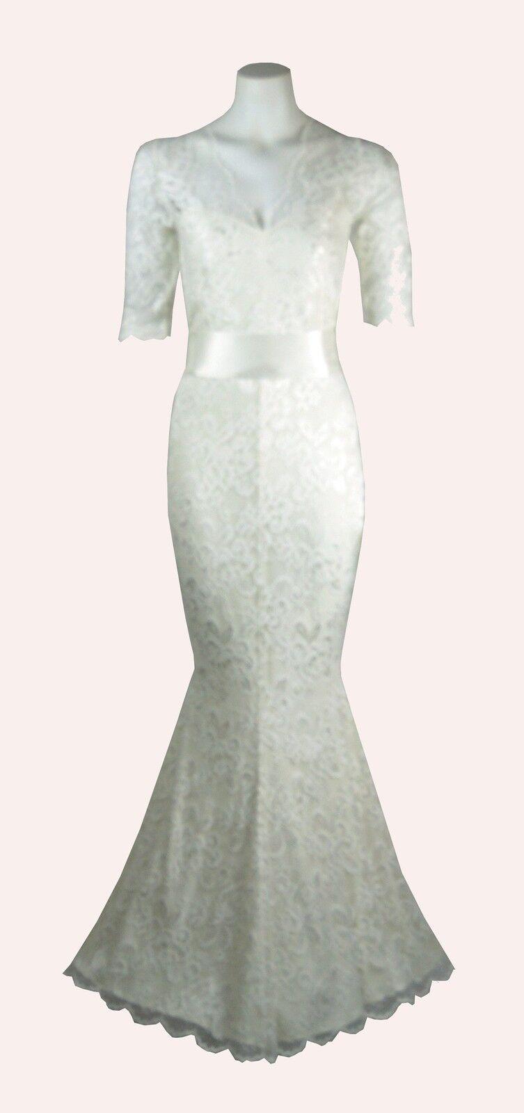 Baylis & Knight Ivory Sweetheart Low Cut Lace FISHTAIL Long Wedding Wiggle Dress