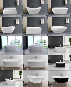 Details zu Freistehende Badewanne BW-IX aus Acryl Bad Wanne mit Ab- /  Überlauf