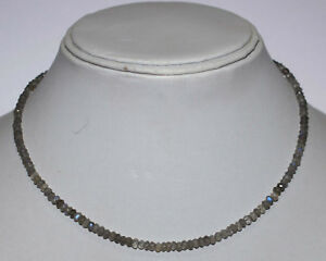 925-Sterling-Silver-Blue-Labradorite-Gemstone-Round-Faceted-Beads-Necklace-VF-45