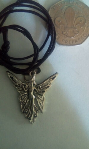 Brand New Free P/&P Silver Plate Fairy pendant on black waxed cord