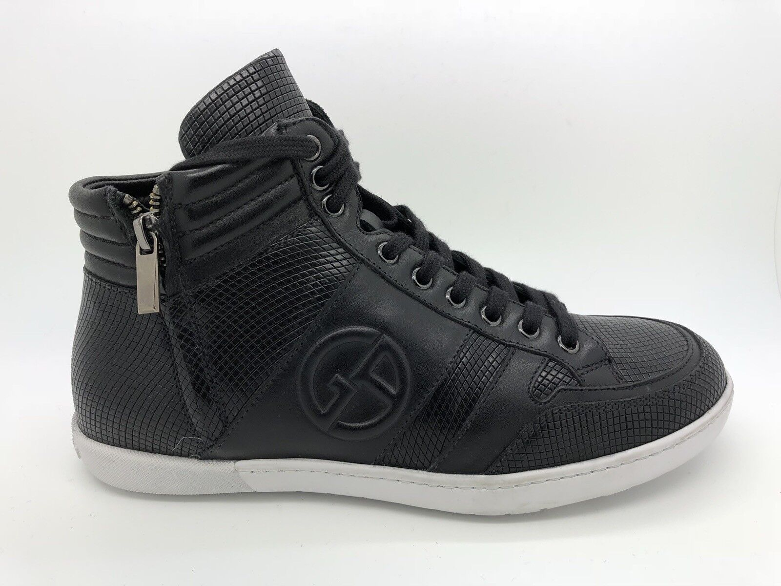 795 Giorgio Armani Optic-Print Texturouge High-top baskets, Noir Taille 8