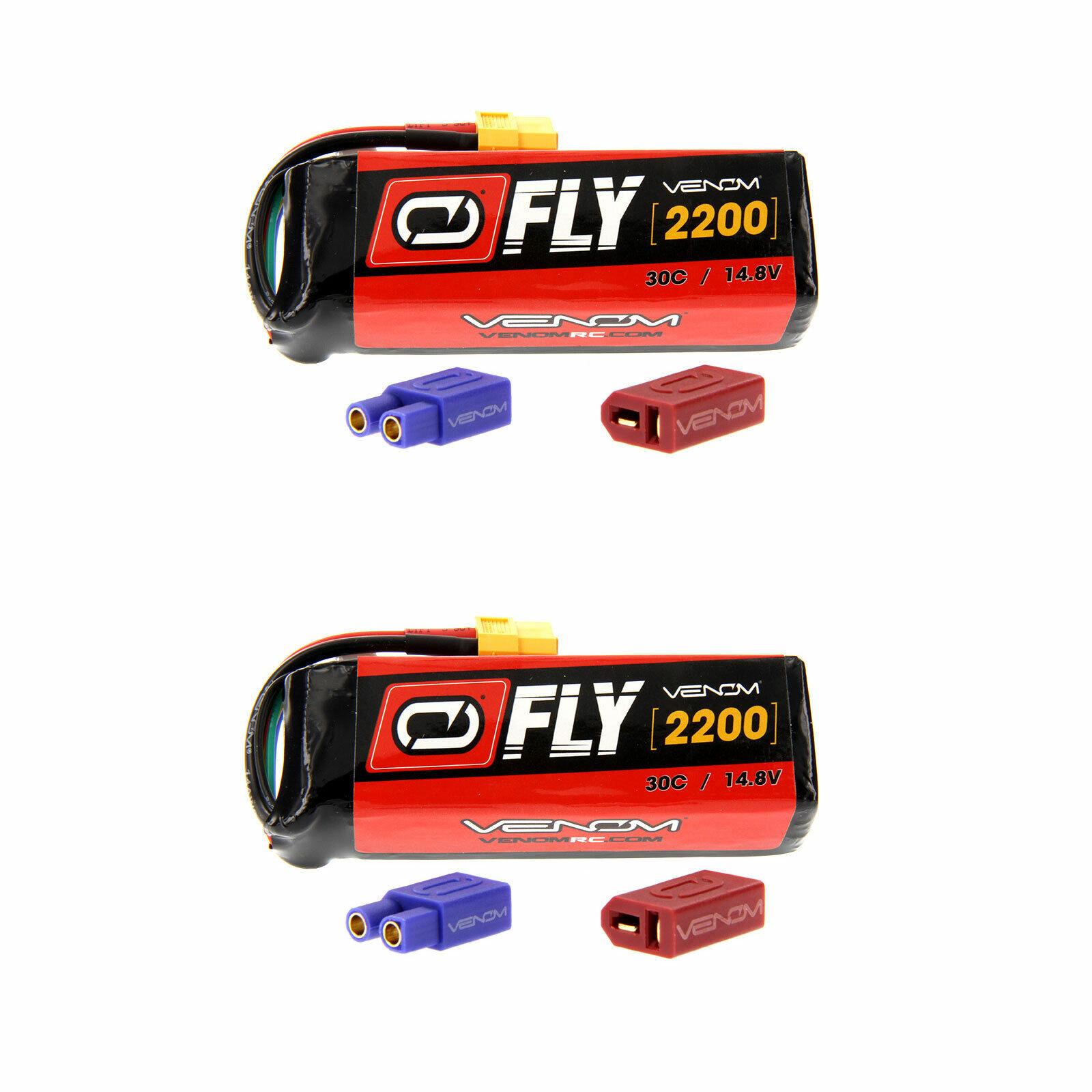 Venom volar 30C 4S 2200mAh 14.8V Batería Lipo Con Enchufe x2 Uni 2.0 paquetes