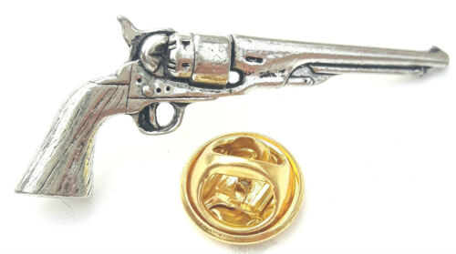 Pistol Gun Set Of Handcrafted from English Pewter in the UK Lapel Pin Badges