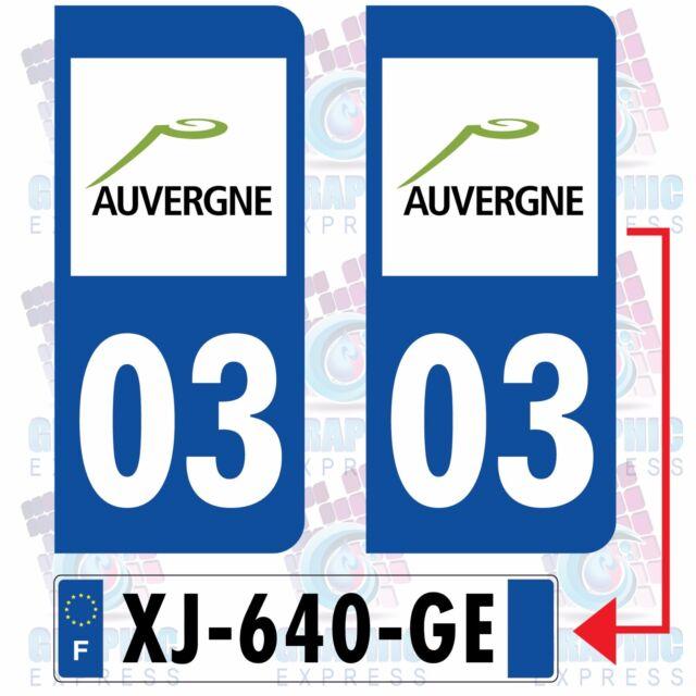 REGION 03 AUVERGNE / 2 STICKERS AUTOCOLLANT PLAQUE D IMMATRICULATION DEPARTEMENT