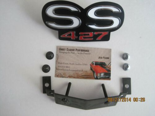 """1968 Chevy Camaro Grille Emblem for Standard Grille /""""SS 427/"""" w//Fasteners SHARP!"""