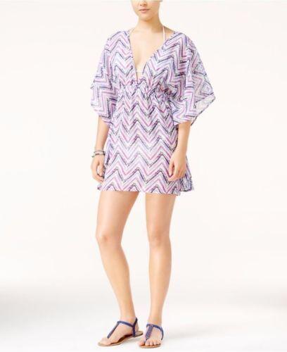 Miken Swim  Swimsuit Bikini Cover Up Sz M Tunic Mini Dress Purple//Aruba i7