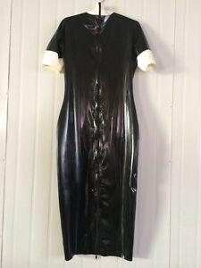 Latex-Rubber-Gummi-Black-and-White-Fashion-Beautiful-Dress-Size-XS-XXL