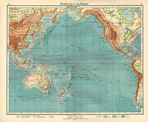 1908 Map Ocean Warm Cold Currents Australia New Zealand East