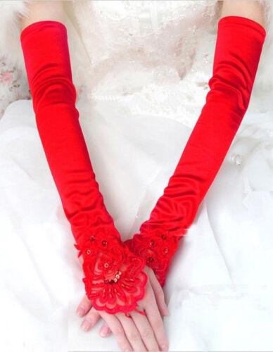 Hot Women Party Dress Bridal Wedding Fingerless Lace Stretch Satin long Gloves