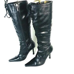 a1925ba62a0 River Island Lace Detail Black Boots Size Uk 4 Eur 37 Sexy Stiletto ...