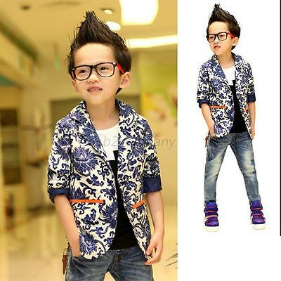 New Kids Boys Child Outwear Porcelain Printed Casual Suit Jacket Coat Size 2-7Y