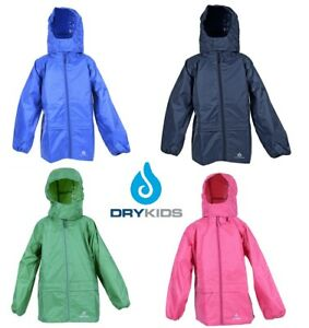 DRY KIDS Childrens Waterproof Jacket PU Coated Boys and Girls Rainwear for Outdoor Play Matches Dungarees
