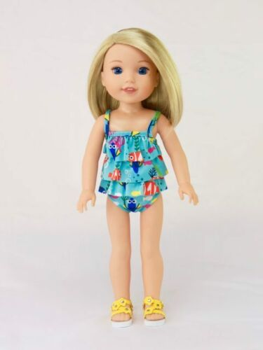 "Doll Clothes 2 PC Blue Ruffle Swimsuit For 14.5/"" Wellie Wishers American Girl"