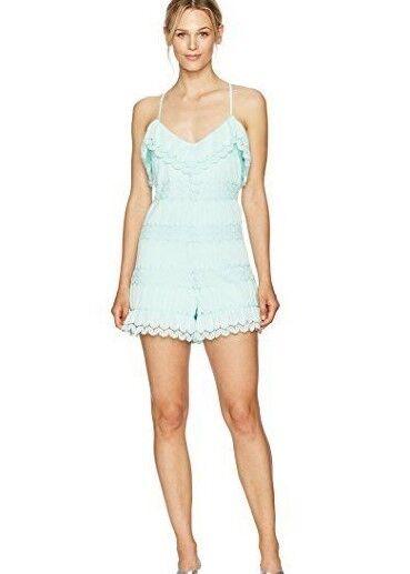 GUESS Women's Sleeveless Vita Ruffled Romper, Fair Aqua, Size  S, L