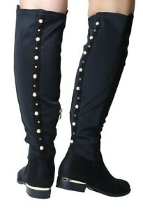 Womans Black Over the Knee High Boots Stretch Wide Fit Calf Flat Gold Heel Zips