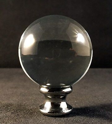 CHROME BASE LAMP FINIAL-ORB CRYSTAL LAMP FINIAL WITH POL