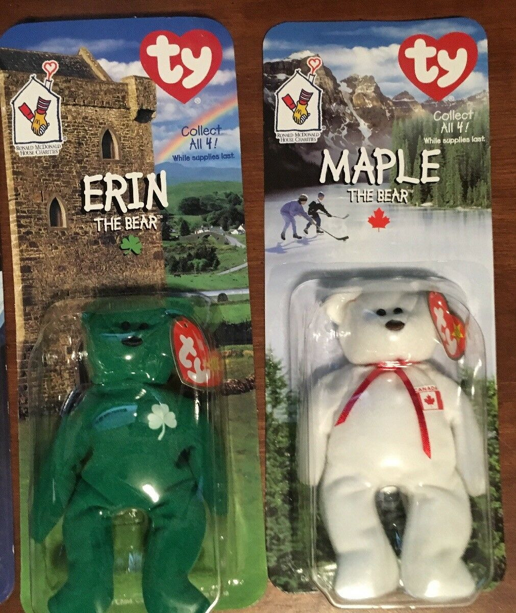 4 NEW Ty Teenie Teenie Teenie Beanie Babies Britannia Glory Erin & Maple The Bear McDonalds 1 611fd2