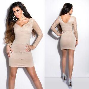Women-039-s-Lace-Scalloped-Cocktail-Mini-Dress-S-M-L-XL