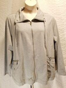 7c493799e3f67 Karen Scott Sport Womens Gray Full Zipper Jacket Plus Size 2X Cotton ...