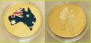 Australian-Light-Horse-GOLD-Plated-1oz-collectable-C-O-A-included