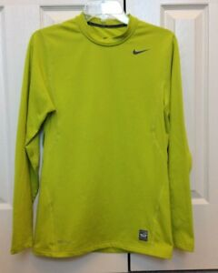 36e102243 Details about Mens Nike Pro Combat Hyper Warm Fitted Long Sleeve Shirt  Light Lime Green Small