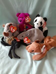 Ty Beanie Babies Lot of 6- TANK SLY SPINNER SPIKE MILLENNIUM CHINA. errors htf