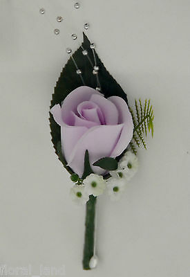 WEDDING FLOWER BRIDAL PURPLE LAVENDER ROSE BUTTON HOLE ROSES FLOWERS