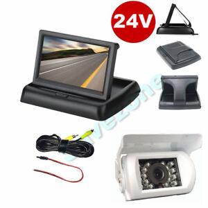 4-3-034-LCD-Foldable-Monitor-Car-Rear-View-Kit-White-Reversing-Camera-12V-24V-10m