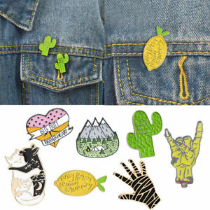 Lovely-Cartoon-Enamel-Lapel-Pin-Corsage-Brooch-Gesture-Palm-Cactus-Cat-Sweater