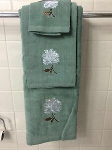 White Flower Floral Peony Bath Hand Towel Set Decor Ebay