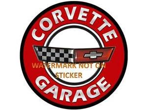 VINTAGE-CHEVY-CORVETTE-GARAGE-DECAL-STICKER-LABEL-LARGE-DIA-240-MM-HOT-ROD