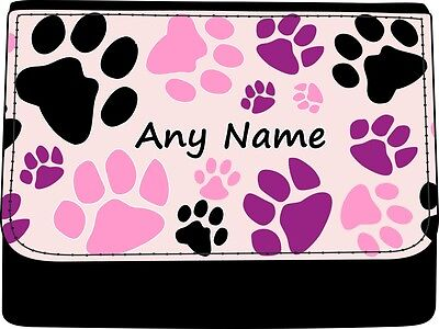 PERSONALISED ANIMAL PAW PAWS PRINT LADIES FAUX LEATHER PURSE GIFT BIRTHDAY