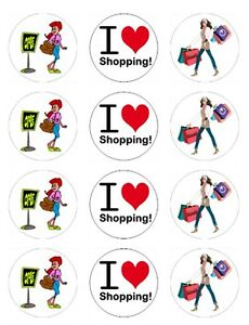 Me encanta ir de compras Zapatos Bolsas Comestibles Toppers wafer/icing Cupcake x12decoration